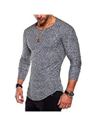 kingf Men's Slim Fit O Neck Long Sleeve Muscle Tee T-Shirt Casual Tops Blouse