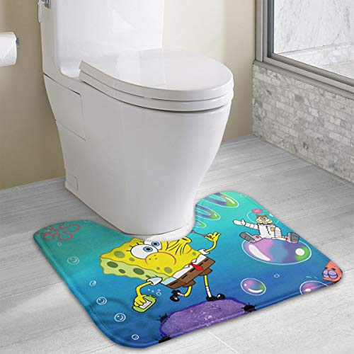 Contour Bath Rug Spongebob Squarepants U-Shaped Toilet Floor Rug Shower Mat Non Slip Bathroom Carpet 19.3