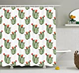 Ambesonne Cactus Decor Shower Curtain, Cactus with Spikes and Red Flowers Mexican Hot Desert Vintage Image Art, Fabric Bathroom Decor Set with Hooks, 70 inches, Green and Orange