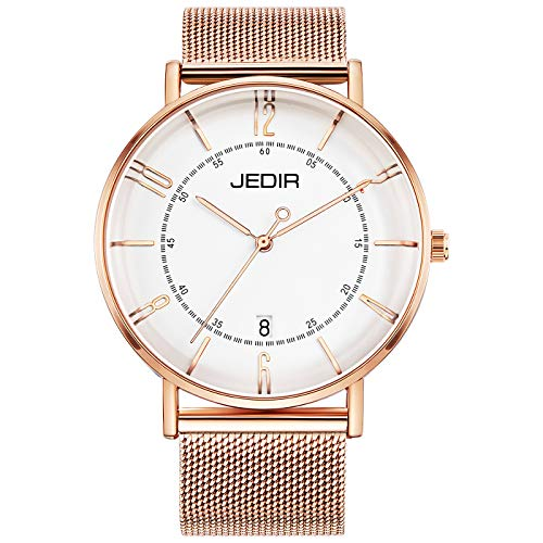 JEDIR Women's Watch Minimalist Fashion Classic Quartz Wristwatch Analog with Date White Dial and Milanese Mesh Band (Rose Gold) -