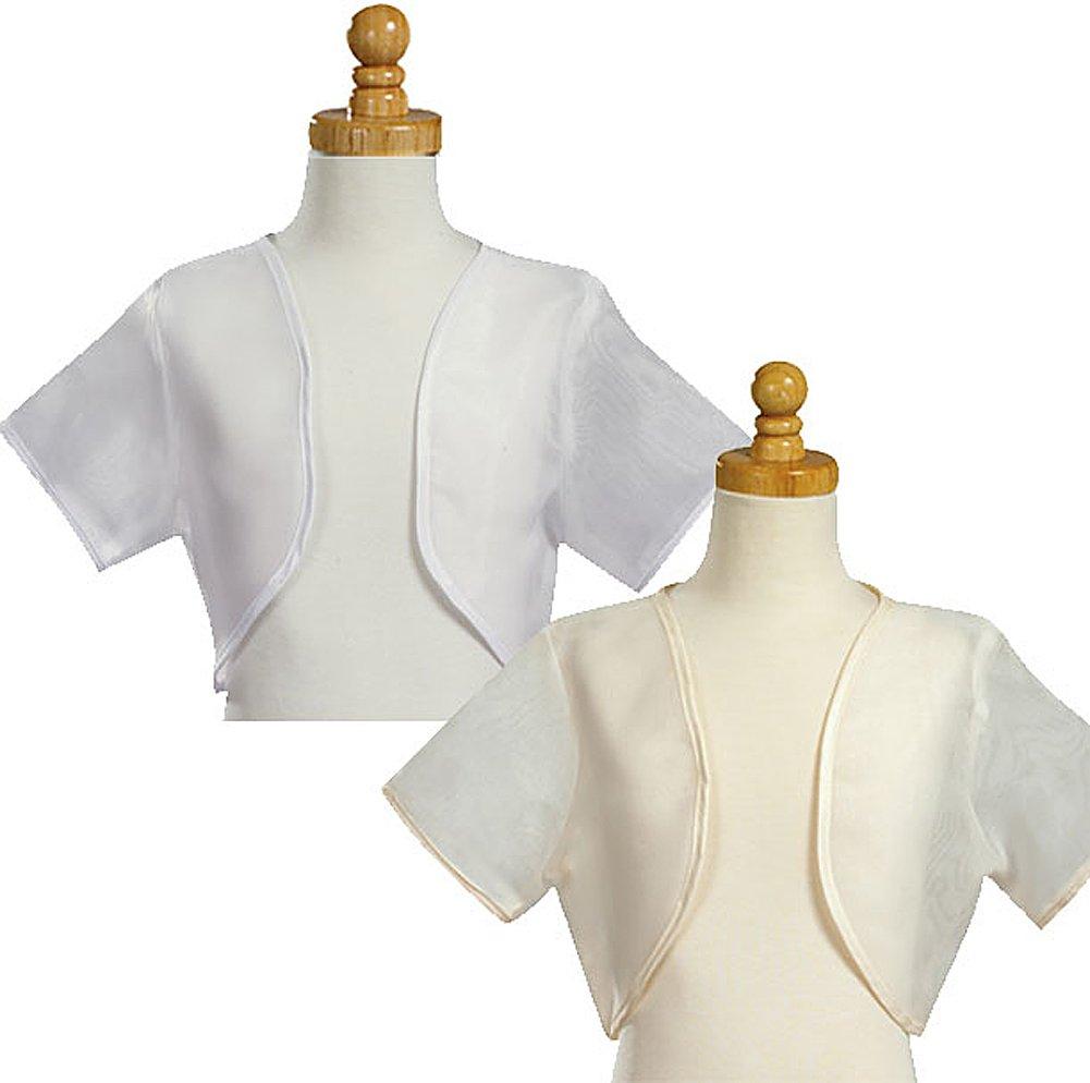 Girl's White Sheer Organza Bolero Jacket - Size L (12-14)