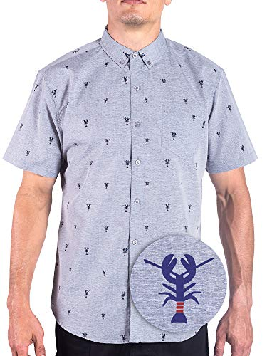 Visive Lobster Mens Short Sleeve Button Down/Up Hawaiian Shirts for Men Grey S Button Down Cotton Jeans