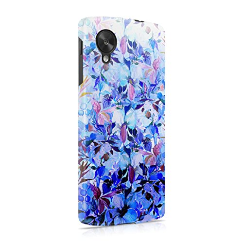 Purple & Blue Floral Ombre Hard Plastic Phone Case For LG Google Nexus 5 (Nexus 5 Phone Case Purple)