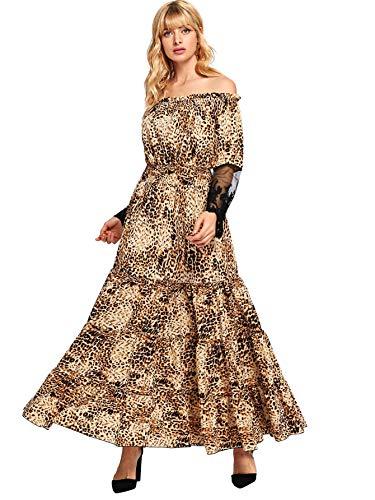 Milumia Women's Leopard Off Shoulder Lace Contrast Ruffle Mesh Sleeve Shirred High Waist Maxi Dress Leopard S