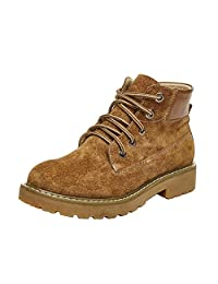 Feisen Women's Leather Ankle Booties Round Toe Lace Up Martin Boots