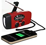 Ambient-Weather-Compact-Emergency-Solar-Hand-Crank-AMFMNOAA-Weather-Radio-Flashlight-Smart-Phone-Charger-with-Cables