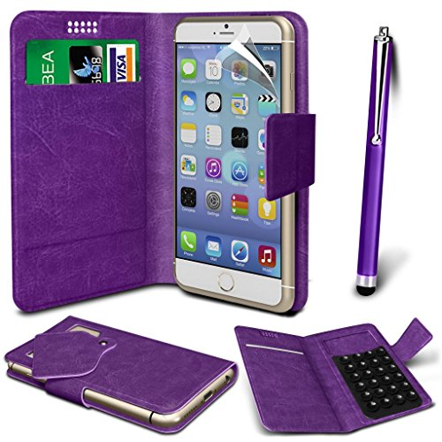 N4U Online® - Apple iPhone 4s PU aspiration étui en cuir Wallet Pad Cover & High Sensitive Stylus Pen - Violet