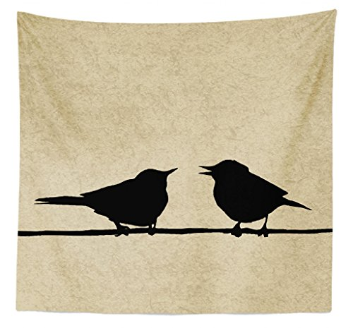 """Lunarable Birds Tapestry Queen Size, Grunge Worn Out Background with Bird Silhouettes on a Wire Urban Animal Scenery, Wall Hanging Bedspread Bed Cover Wall Decor, 88"""" X 88"""", Black Beige"""