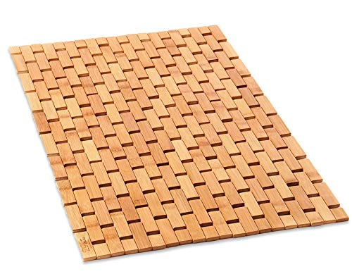 Natural Bamboo Wood Bath Mat: Wooden Door Mat/Kitchen Floor Rug - Bathroom Shower and Tub Mats - NON SLIP: ZPirates wooden floor mats keep your feet off wet and slippery surfaces and use soft anti skid rubber pads underneath to protect your flooring and provide you with safer, more stable footing INDOOR / OUTDOOR: Place inside bathrooms as a bathtub bathmat for a spa like feel or to make kitchens / laundry rooms more modern; use outside as a doormat, in a garage or RV, on a deck, or by a pool ECO FRIENDLY BAMBOO: Lighter than teak wood and stronger than plastic or rubber, our solid bamboo wood mats have a longer lifespan, would not stain, sag or bend, and also roll up for space saving storage - bathroom-linens, bathroom, bath-mats - 51npdV2zRXL -