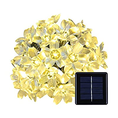 Warm White Solar Flower Shape String Lights-ANNT 16.4ft 5m 50 LED Crystal Lighting Waterproof Lamp Fairy Blossom Flower Garden Holiday Decorative Light Outdoor Indoor Patio Wedding Xmas Tree Party