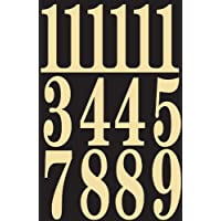 """Números de vinilo autoadhesivos MM-5N de Hy-Ko Products 3 """"de altura, negro y dorado, 26 piezas"""
