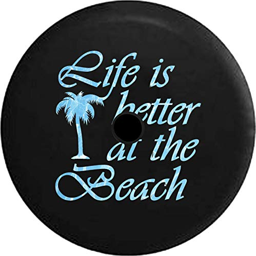 - JL Series Jeep Spare Tire Cover Backup Camera HoleLife is Better at The Beach Sea Ocean Water Palm Tree Black 33 in