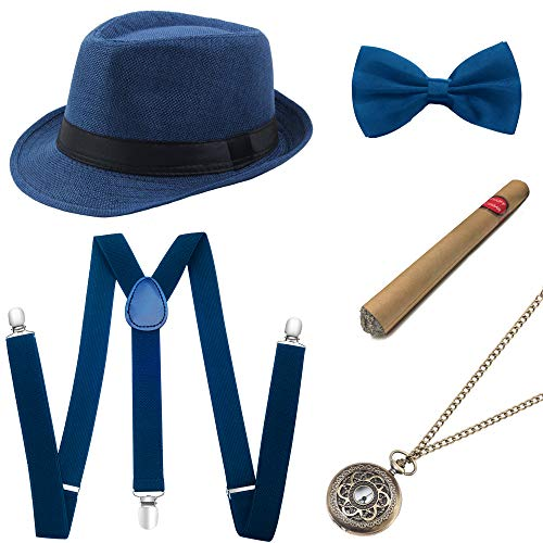 BABEYOND 1920s Mens Gatsby Gangster Costume Accessories Set Panama Hat Suspender (Blue Set)]()