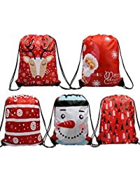 Christmas Drawstring Gift Bags Bulk Pack, Santa Sack Backpack for Party Favors and Candy