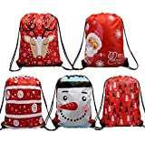 Christmas Drawstring Gift Bags 5 Pack, Santa Sack Backpack for Party Favors and Candy