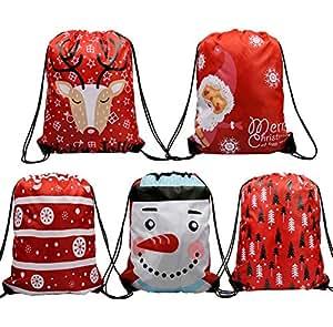 Amazon.com: Bolsas de regalo de Navidad con cordón de 5 ...