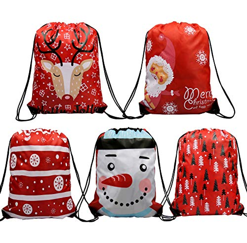 Christmas Drawstring Gifts Bags 5 Pack, Santa Sack Backpack for Party Favors Gifts and Candy