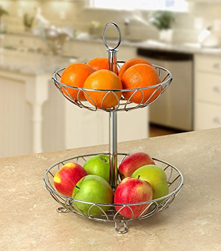 Spectrum Diversified Leaf Tiered Server, Tiered Stand, Chrome