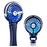 COMLIFE Handheld Misting Fan, Mini Rechargeable Battery Operated Fan, Foldable Desk Fan with Personal Cooling Humidifier and Colorful Night Light, Portable Water Spray Fan for Indoor&Outdoor Usage