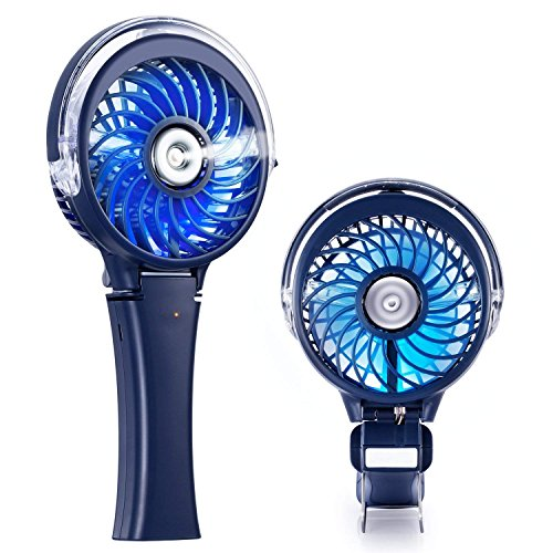 COMLIFE Handheld Misting Fan, Mini Rechargeable Battery Operated Fan, Foldable Desk Fan with Personal Cooling Humidifier and Colorful Night Light, Portable Water Spray Fan for Indoor&Outdoor ()