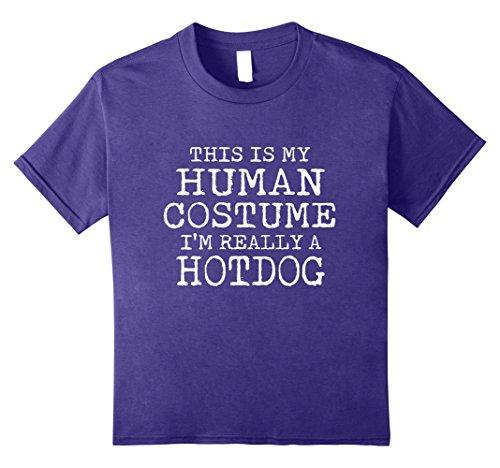 Teen Hot Dog Funny Costumes (Kids HOTDOG Halloween Costume shirt Easy for Men, Women 8 Purple)
