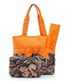 Quilted Camouflage Diaper Bag Baby Changing Pad Cosmetic Bag Orange