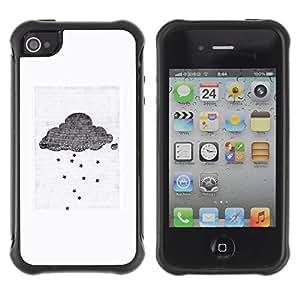 Híbridos estuche rígido plástico de protección con soporte para el Apple iPhone 4 / 4S - cloud gray white small sad emo