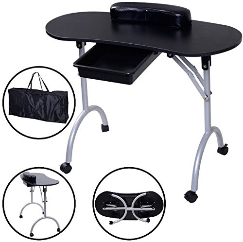 K&A Company Manicure Nail Table Portable Station Spa Equipment Salon Desk Beauty Black New