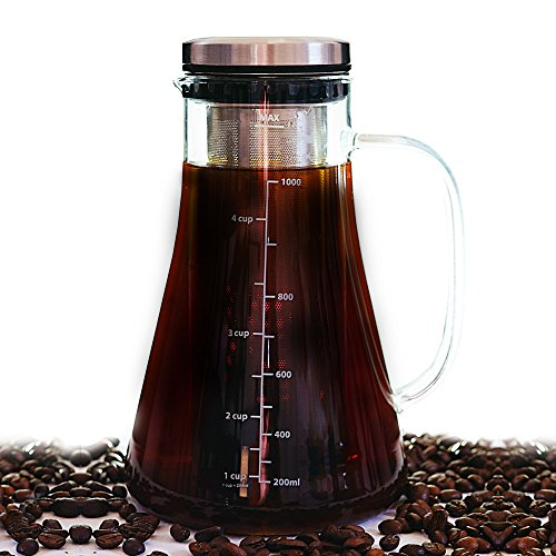 Airtight Cold Brew Iced Coffee Maker- Premium Build 2.5mm thick Brewing Glass Carafe with Removable Stainless Steel Filter   Hold 1L   Brew Hot or Cold Tea or Coffee   Free E-books Included by Vanilla & Coffee