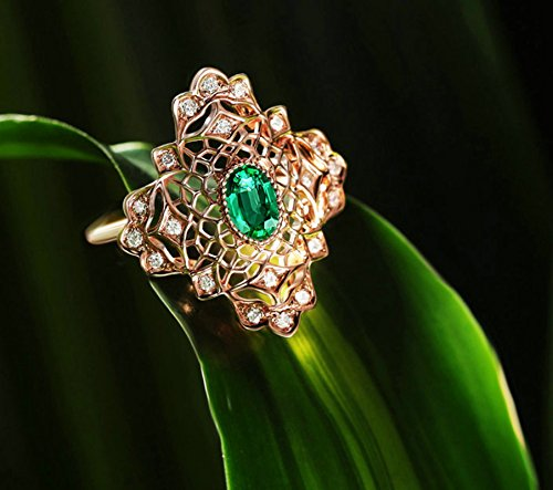 Gnzoe Rose Gold Women Wedding Rings Solitaire Engagement Rings Rose Gold with Green 0.578ct Emerald Size 6 by Gnzoe (Image #3)