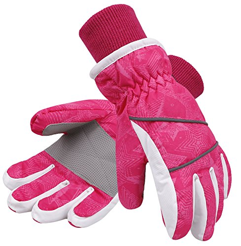 Pink Womens Snowboard Glove - SimpliKids Girls Waterproof Thinsulate Lined Winter Ski&Snowboard Gloves, S,Pink