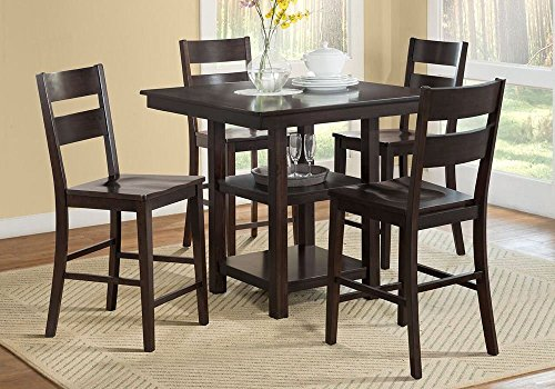 1PerfectChoice Studio City 5 pcs Counter Height Dining Set Table 2 Shelf Base Wooden Seat Chair