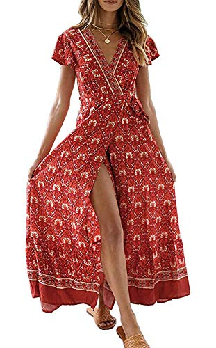 - Womens Casual Boho Floral Print Wrap V Neck Short Sleeve Slit Party Maxi Beach Dress Red