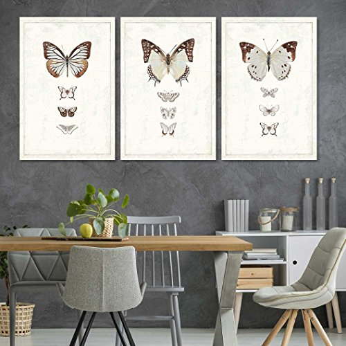 3 Panel Multiple Brown Shaded Butterflies Artwork x 3 Panels