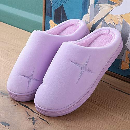 Invierno Pantuflas Qzhe Estrellas Hembra Algodón Púrpura Fondo De Interior Hogar Pequeñas Cálido Zapatillas Grueso Calientes 8ddq4