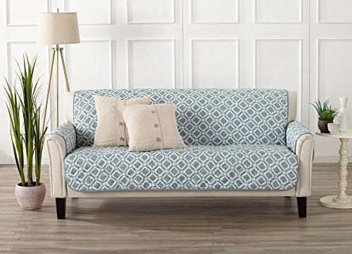 Modern Printed Reversible Stain Resistant Furniture Protector with Geometric Design. Perfect Cover for Pets and Kids. Adjustable Elastic Straps Included. Liliana Collection (Sofa, Sea Blue Green)
