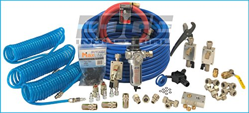 Complete Compressed air Tubing Kit assembly Inlcudes 1/2' Tubing and 1/2' Threads, M3800 Maxline Kit, 1/2' Filter Regulator, 3 Poly Refinforced Hoses with Quick Disconnects