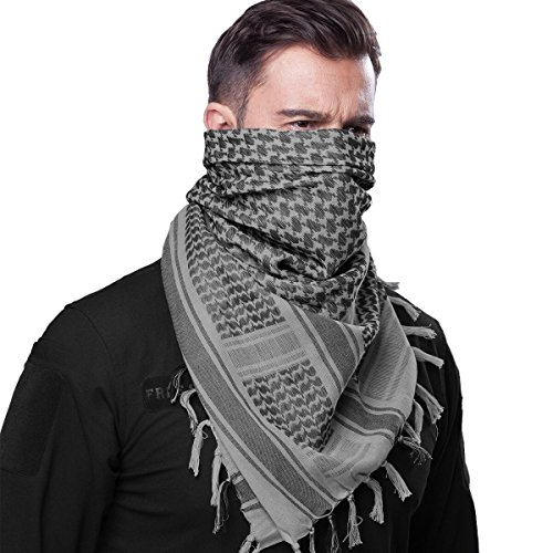 FREE SOLDIER 100% Cotton Military Shemagh Tactical Desert Keffiyeh Head Neck Scarf Arab Wrap (Grey)