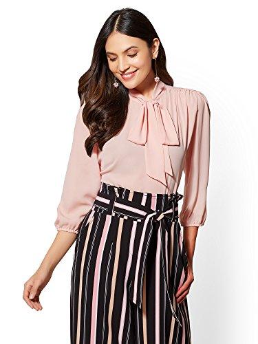 New York & Co. Women's 7Th Avenue - Bow-Accent Blouse Large Park Avenue Pink Park Avenue Dress