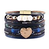 AZORA Leather Cuff Bracelet Multi Strands Blue Wrap Bangle with Pearl Boho Jewelry for Women Teen Girl Gift
