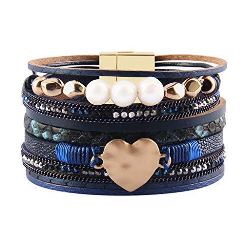 (AZORA Leather Cuff Bracelet Multi Strands Blue Wrap Bangle with Pearl Boho Jewelry for Women Teen Girl Gift)