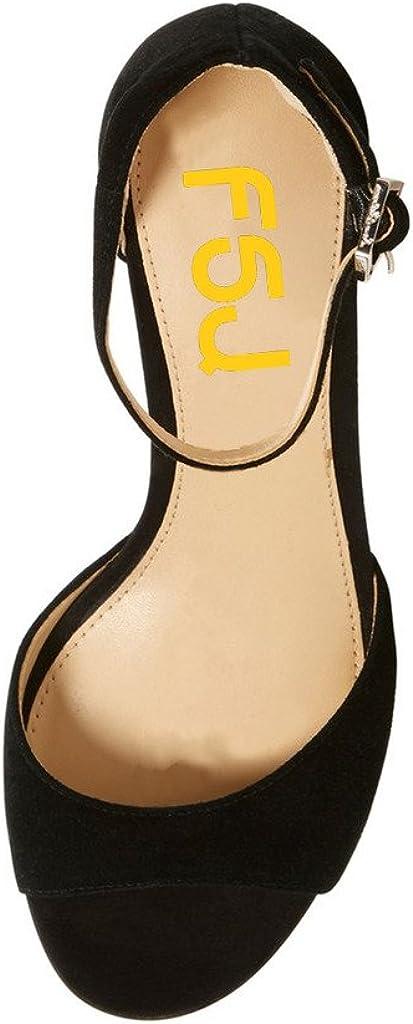 FSJ Women Elegant Ankle Strap Sandals Low Chunky Heels Pumps Peep Toe Comfort Shoes Size 6-13 US