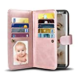 Galaxy S8 Case, Vofolen 2 in 1 Galaxy S8 Case [Wallet + Detachable Slim Case] 9 Slot Card Holder ID Pocket Holster Magnetic Folio Flip Cover Protective Shell with Wristband for Galaxy S8 - Rose Gold