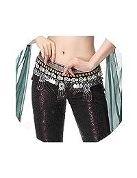 New Tribal Bellydance Hip Scarf Gypsy Accessories Belly Dance Waist Belt Coins Beads Chain Adjustable Stage Performance,Dark Green,L