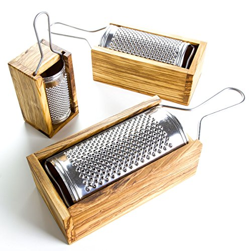 The Rustic Dish Italian-Made Hard Cheese Grater with Olive Wood Box - Length - Italian Grater Cheese