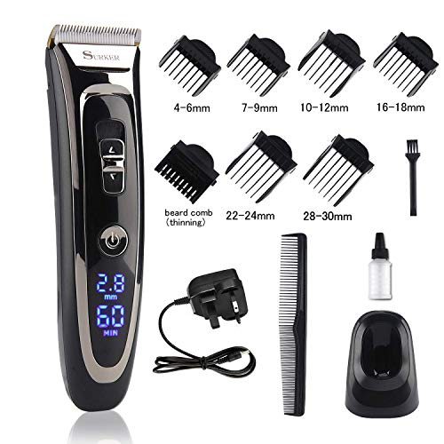 Cordless Hair Clipper Set Rechargeable Waterproof Electric Hair Trimmer Mens Grooming...