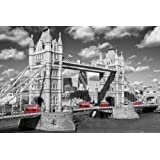 1art1 54168 Poster Londres Tower Bridge Bus Rouges 91 x 61 cm