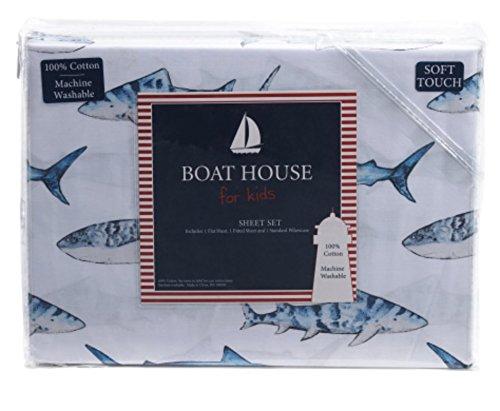Boathouse Kids Marine Life Sharks Three (3)-Piece Cotton Soft Touch Sheet Set
