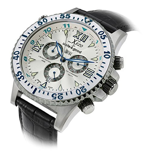 Xezo Men's D45-Sl Air Commando Swiss-Quartz Luxury Sports Chronograph Watch by Xezo