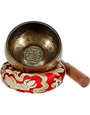 Rovtop Rovtop klankschaal met klopper en kussen, 9,5 cm klankschaal met klepel en kussen, 9,5 cm klankschaal voor meditatie, ontspanning, stress en angst, zingkom uit Tibet